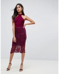 AX Paris - Racer Neck Midi Dress With Crochet Lace Skirt And Contrast Lining - Lyst