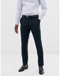 SELECTED Black Watch - Geruite Pantalon - Blauw
