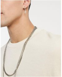 TOPMAN Hoop Earrings With Cross Charm - Metallic