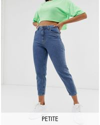 Noisy May Ankle Grazer Mom Jeans With Contrast Stitch - Blue