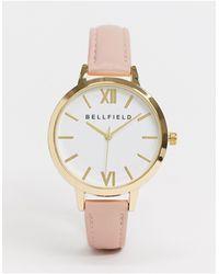Bellfield – Uhr mit rosafarbenem Armband und weißem Zifferblatt - Braun