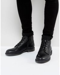 SELECTED - Trevor Leather Lace Up Boots In Black - Lyst