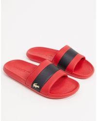 Lacoste Slippers Met Gouden Krokodil - Rood