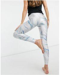 Miss Selfridge Yoga Marble Print leggings - Blue