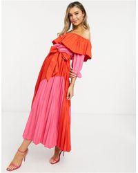 Never Fully Dressed - Красно-розовое Плиссированное Платье -мульти - Lyst