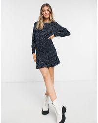 TOPSHOP Shirred Mini Dress - Blue