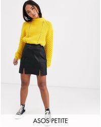 ASOS Asos Design Petite Denim Coated Mini Skirt - Black