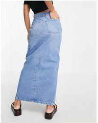 ASOS Asos Design Petite Organic Cotton Blend Denim '90s' Maxi Skirt - Blue
