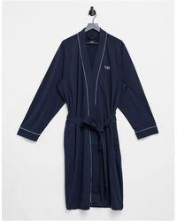 BOSS by Hugo Boss Albornoz azul marino estilo kimono con logo Bodywear