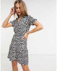 Warehouse Черное Платье-рубашка Мини С Цветочным Принтом -многоцветный