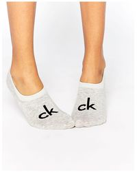Calvin Klein Низкие Носки С Логотипом В Стиле Ретро -серый - Белый