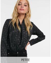 New Look Satin Wrap Bodysuit - Black