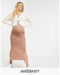 Flounce London Flounce Maternity Co-ord Ribbed Midi Skirt With Side Splits - Natural