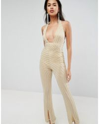 ASOS - Embellished Jumpsuit With Halter And Plunge Detail - Lyst