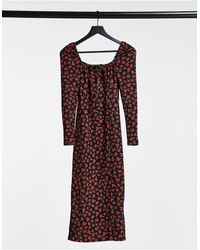 Bershka Square Neck Midi Dress - Red