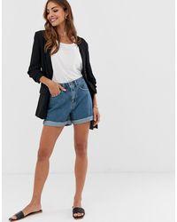 Vero Moda – Mom-Shorts aus Denim mit hohem Bund - Blau