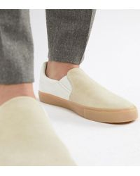 ASOS - Wide Fit Slip On Plimsolls In Real Stone Suede - Lyst