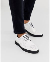 ASOS Chaussures richelieu en similicuir style creepers - Blanc