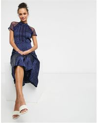 Liquorish A Line Lace Detail Midi Dress - Blue