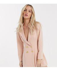 ASOS Asos Design Petite - Double-breasted Jersey Blazer - Roze