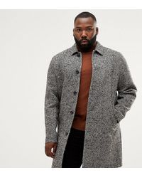 ASOS - Plus Wool Mix Overcoat In Black Texture - Lyst