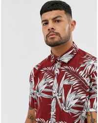 Jack & Jones Essentials Printed Short Sleeve Shirt - Red
