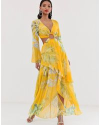ASOS Maxi Dress With Long Sleeve And Circle Trim Detail In Tropical Print - Yellow