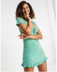 Pull&Bear V Neck Floral Mini Dress - Green