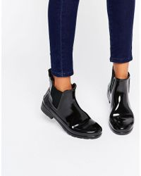 HUNTER Stivali da pioggia Chelsea nero lucido rifiniti