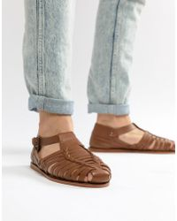 Dune - Woven Sandals In Tan Leathe R - Lyst
