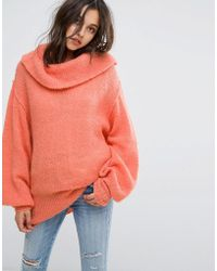 Free People - Wide Neck Oversized Jumper - Lyst