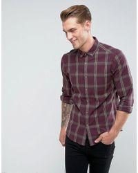 ASOS - Stretch Slim Check Shirt In Burgundy - Lyst