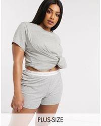 Calvin Klein - Серые Пижамные Шорты Plus Size Ck One-серый - Lyst