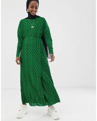 verde largo con punto Vestido plisado 3A5jL4R