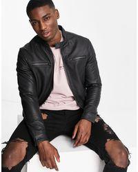 Barneys Originals Barney's Racer Leather Jacket - Black