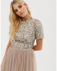 LACE & BEADS Cropped Top With Embellishment And Open Back Co-ord - Brown