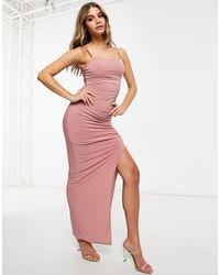 Club L London Club L Maxi Dress With Split - Pink