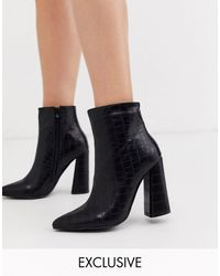 Glamorous Exclusive Heeled Ankle Boots - Black