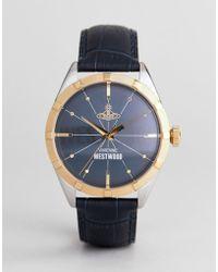 Vivienne Westwood - Vv195nvnv Conduit Leather Watch In Navy - Lyst