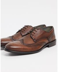 Bolongaro Trevor Burnt Lace Up Brogue Leather Shoes - Brown