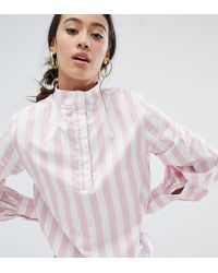 Monki - Pink And White Stripe High Neck Blouse - Lyst