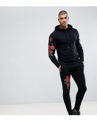 ASOS DESIGN - Tall Tracksuit Hoodie/skinny Joggers With Embroidered Rose Print In Black - Lyst
