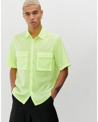 ASOS - Oversized Mesh & Nylon Double Layer Shirt With Double Pockets - Lyst