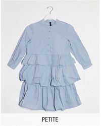 Y.A.S Petite Robe chemise à volants - Bleu