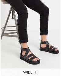 ASOS Wide Fit Gladiator Sandals - Black
