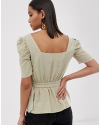 River Island Blouse With Belt - Natural