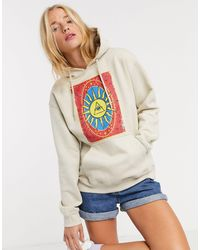 Daisy Street Relaxed Hoodie With Tarot Print - Natural