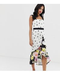 True Violet Exclusive Frill Front Midi Dress In Mixed Polka Floral Print - Multicolour