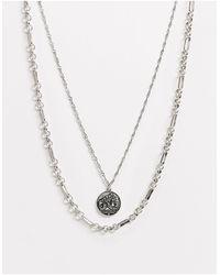 ASOS Catenina a strati argento brunito con ciondolo a moneta - Metallizzato