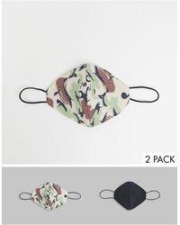 TOPMAN Pack de 2 mascarillas con estampado - Verde